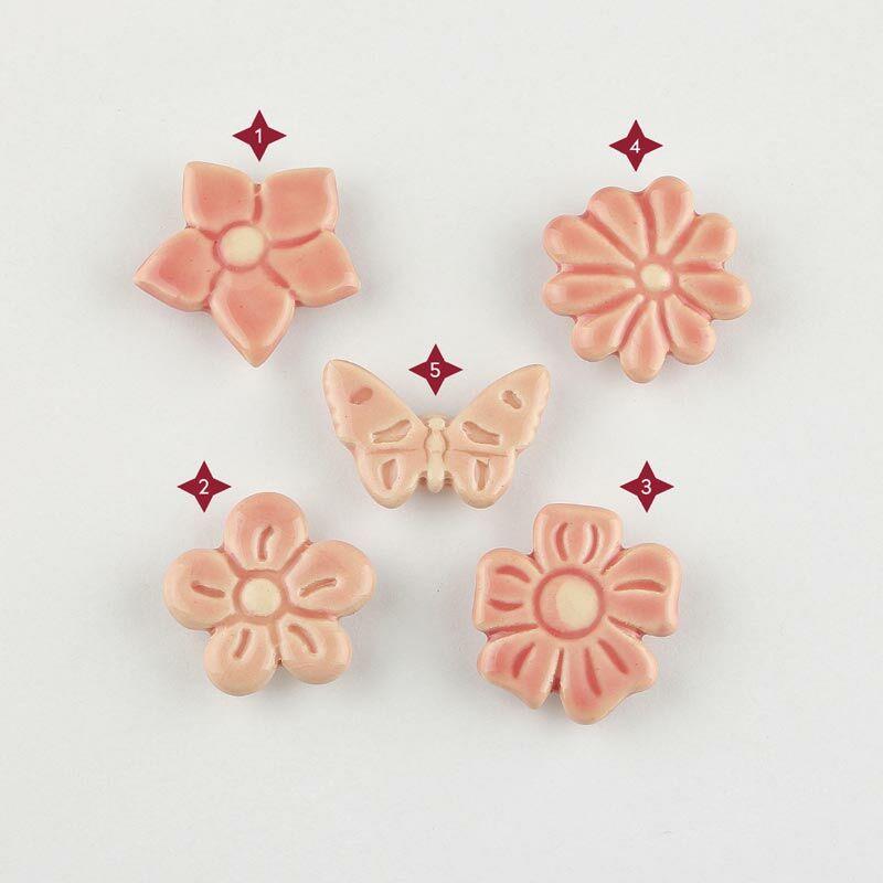 Rózsaszín mini kerámia virág