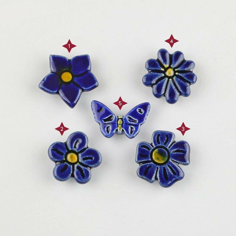 Sötétkék mini kerámia virág