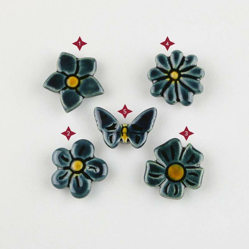 Acélkék mini kerámia virág