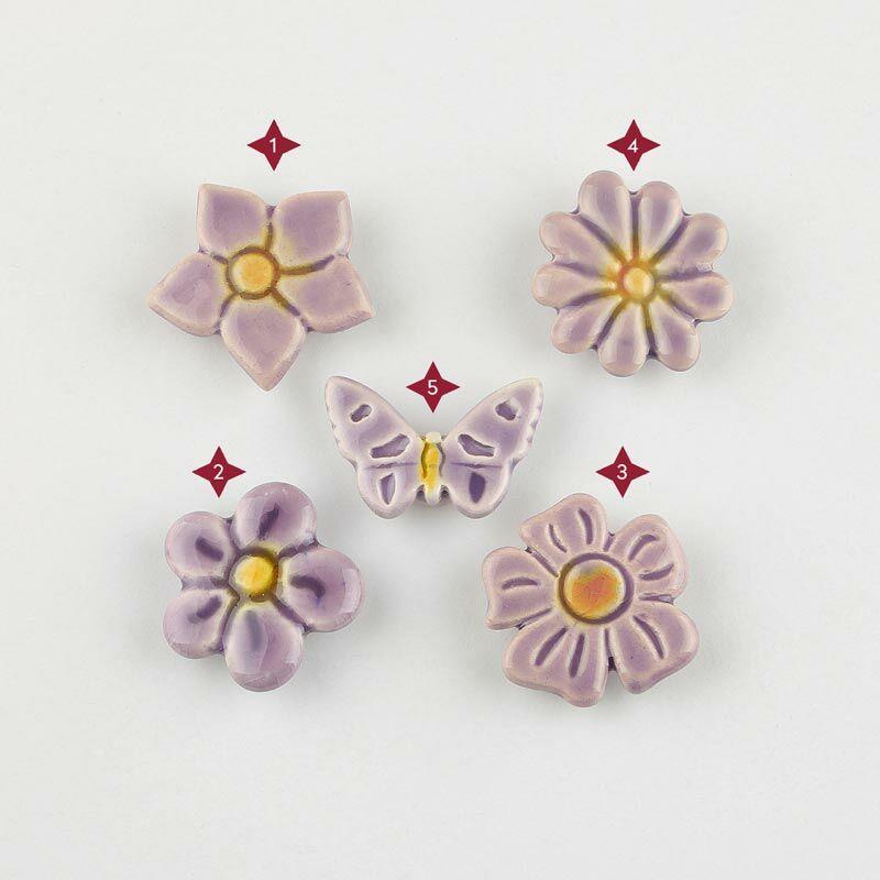 Világos lila mini kerámia virág