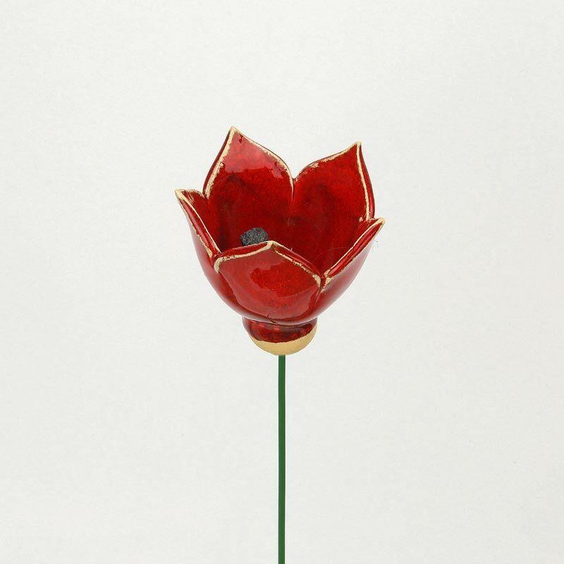 Piros kerámia tulipán