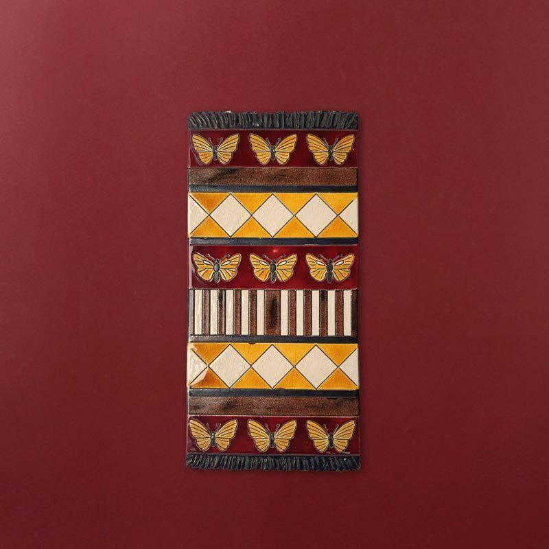 Kerámia fali szőnyeg - bordó-sárga