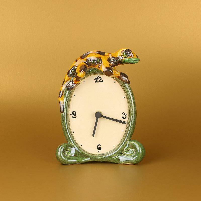 Gekkós kerámia asztali óra