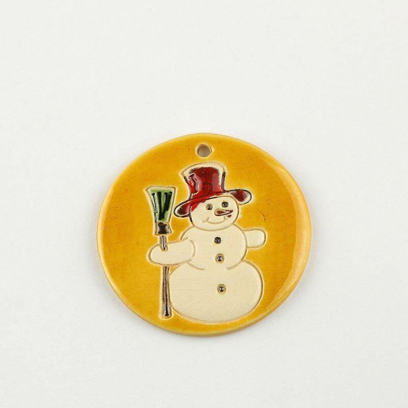 Karácsonyfadísz hóember sárga