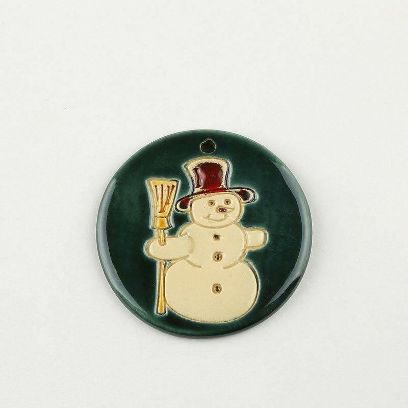 Karácsonyfadísz hóember zöld
