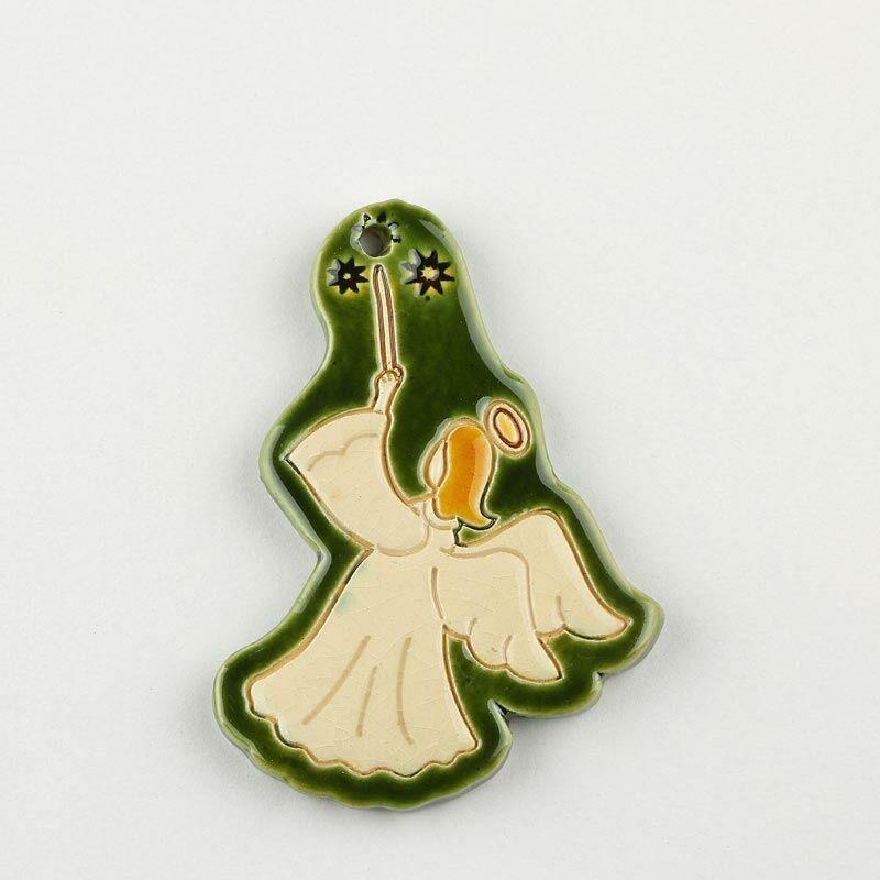 Karácsonyfadísz formázott angyal alakú, zöld
