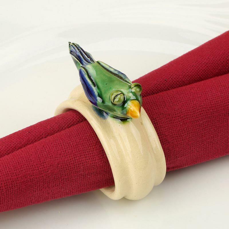 Kerámia szalvétagyűrű - zöld madárka