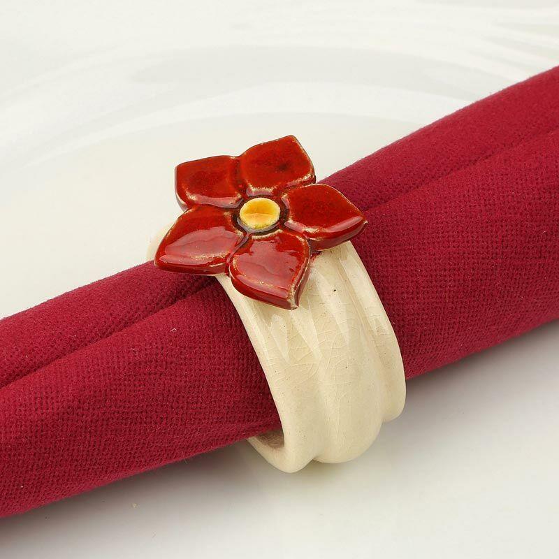 Kerámia szalvétagyűrű - estike piros