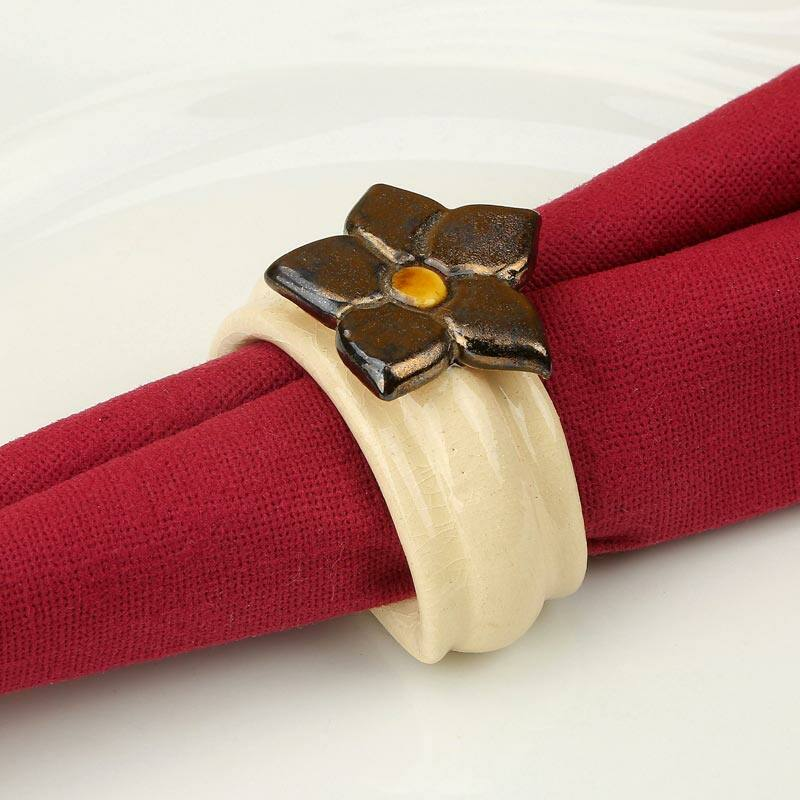 Kerámia szalvétagyűrű - estike arany