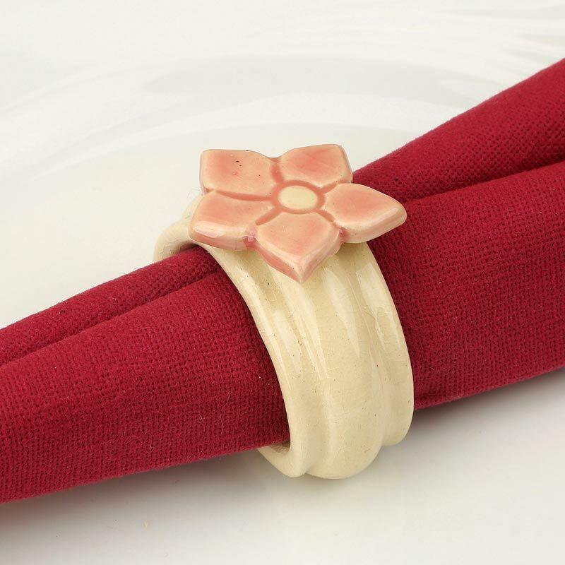 Kerámia szalvétagyűrű - estike rózsaszín