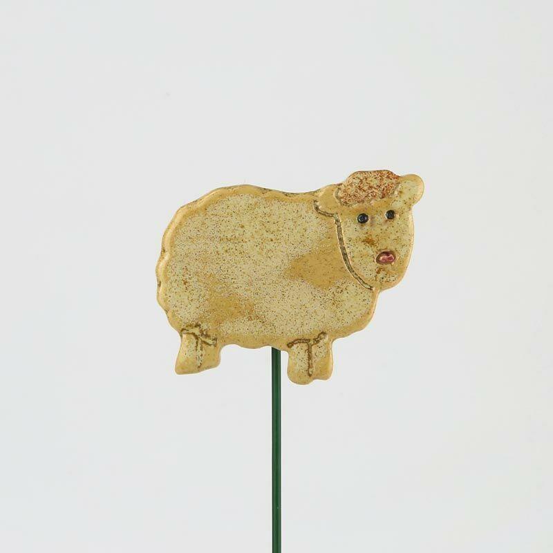 Beszúrható kerámia figura - fehér bárány