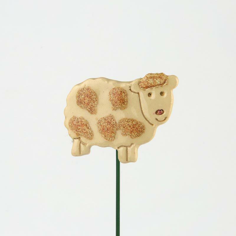 Beszúrható kerámia figura - foltos fehér bárány