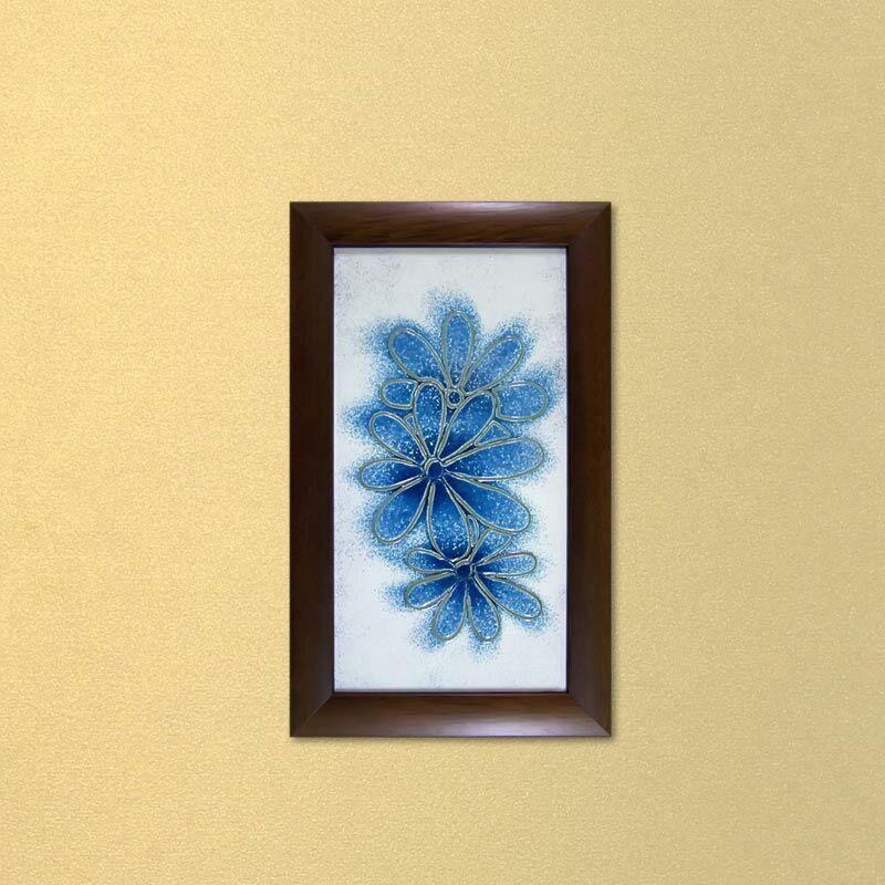 Margaréták üvegkép - kék