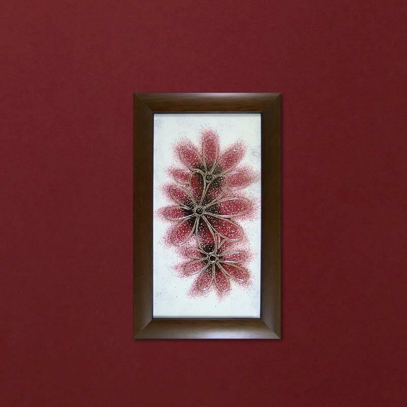 Margaréták üvegkép - rózsaszín