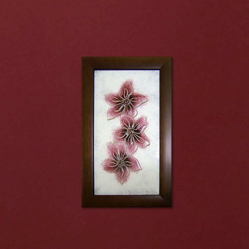 Lila hajnalkák virágos üvegkép