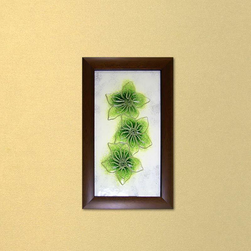 Zöld hajnalkák virágos üvegkép