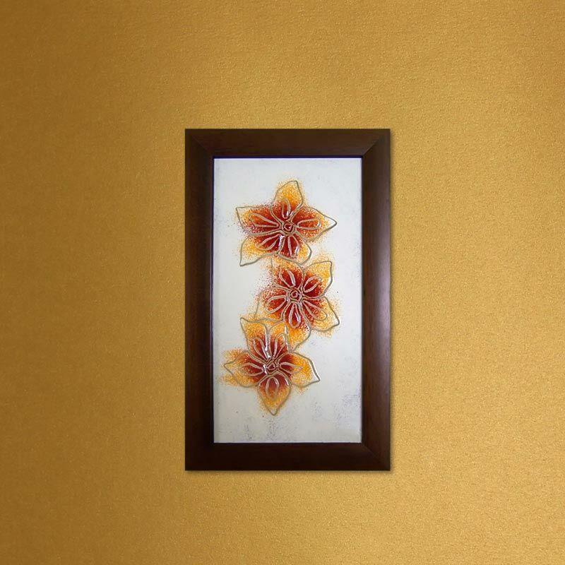 Narancssárga hajnalkák virágos üvegkép