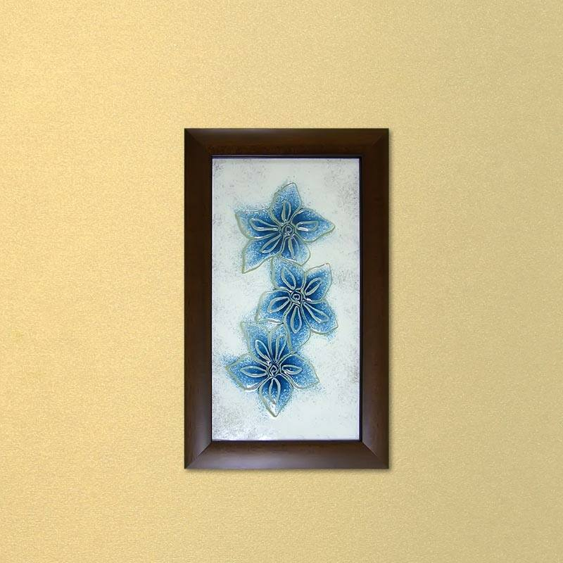 Kék hajnalkák virágos üvegkép