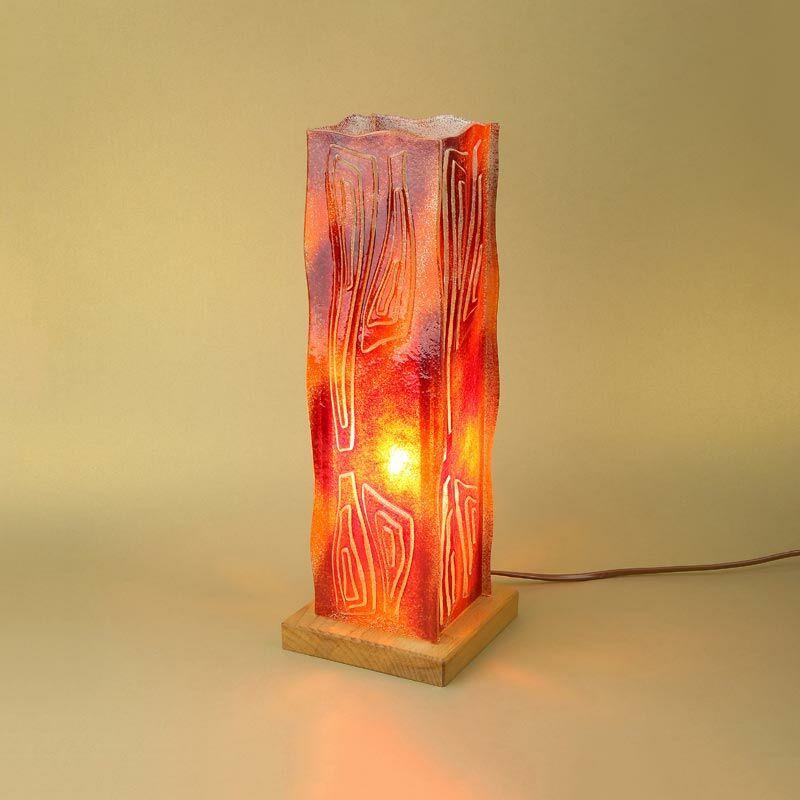 Piros-narancs négyszögletes üveg asztali lámpa