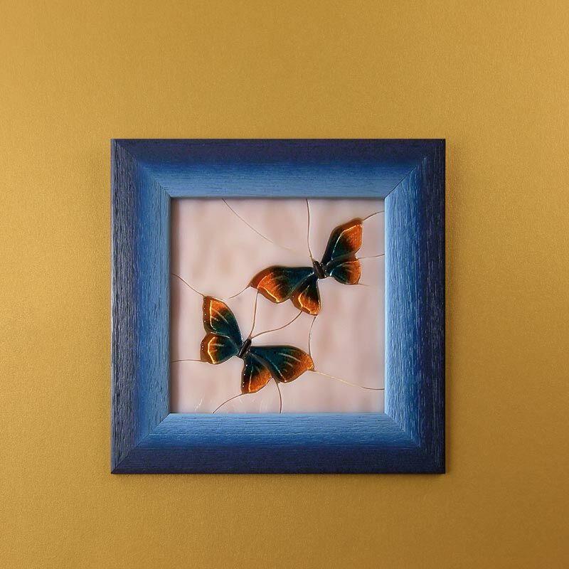 Pillangós mozaik üvegkép, kék keretben