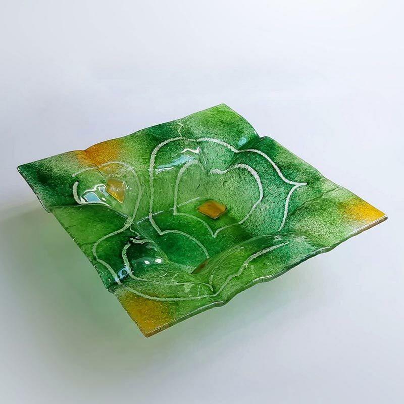 Rátétkockás zöld szögletes kínálótál