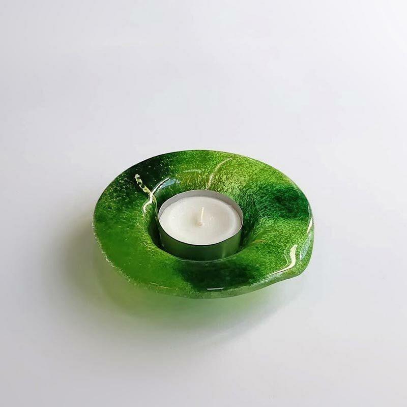 Zöld kerek üveg mécsestartó