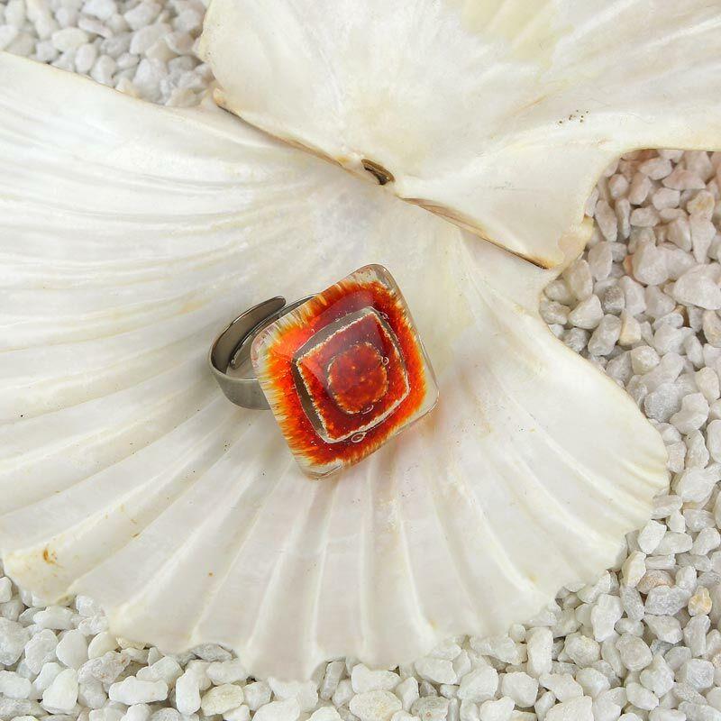 Narancs-vörös buborékos kocka üveg gyűrű