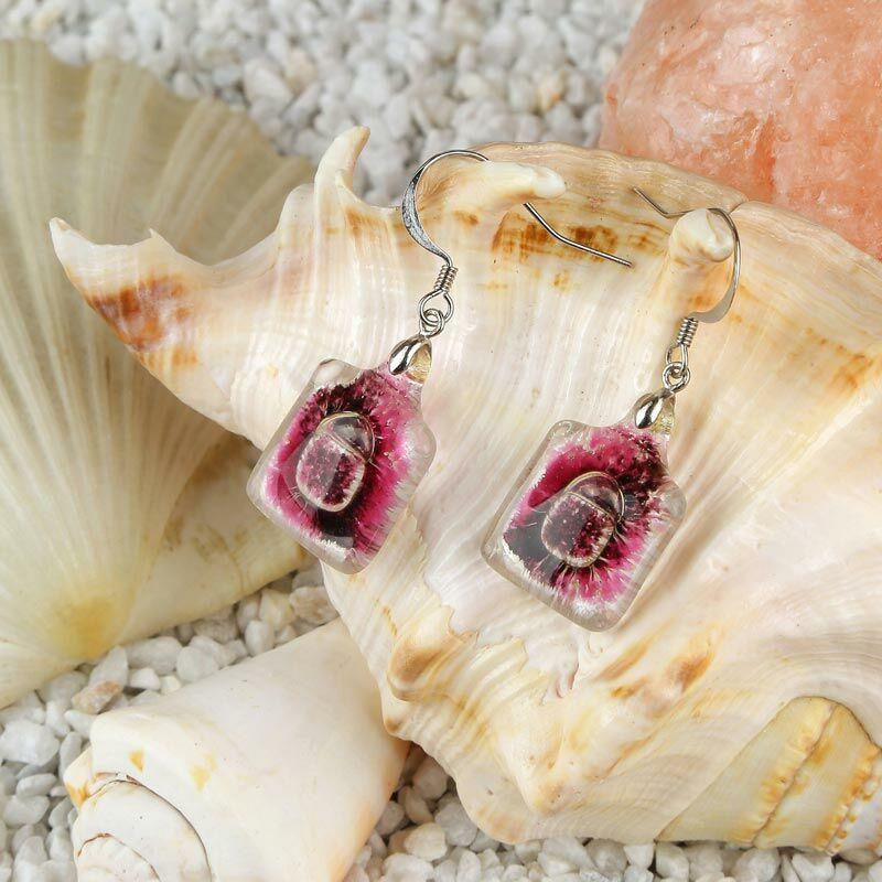 Rózsaszín-lila buborékos kocka üveg fülbevaló