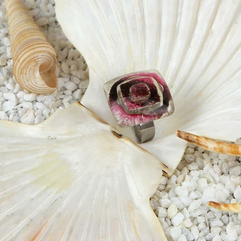 Rózsaszín-lila buborékos kocka üveg gyűrű