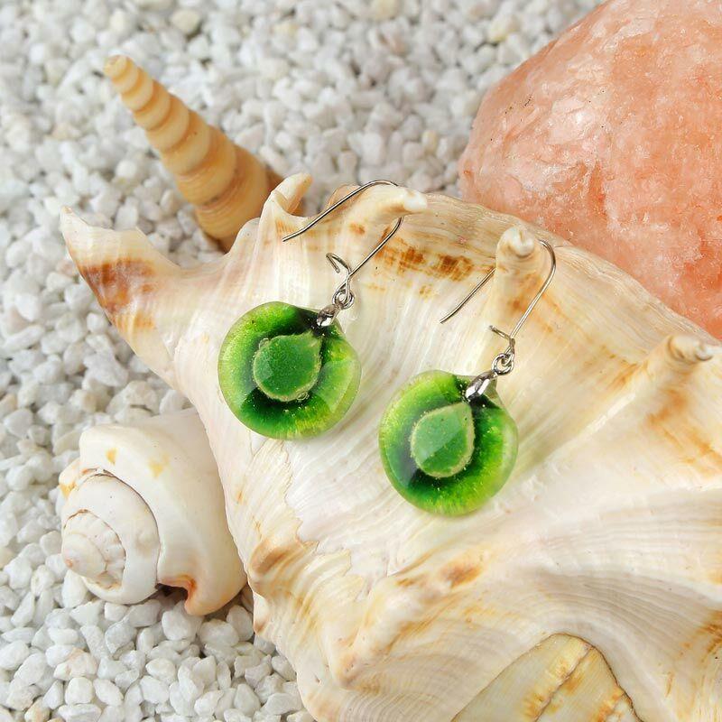 Zöld kerek buborékos üveg fülbevaló