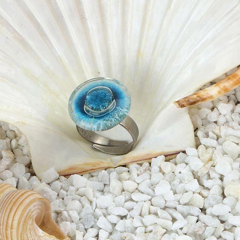 Égszínkék kerek buborékos üveg gyűrű