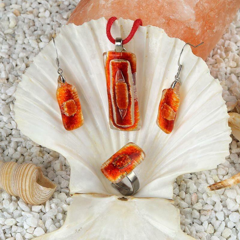 Piros-narancs hosszúkás buborékos üveg ékszer szett