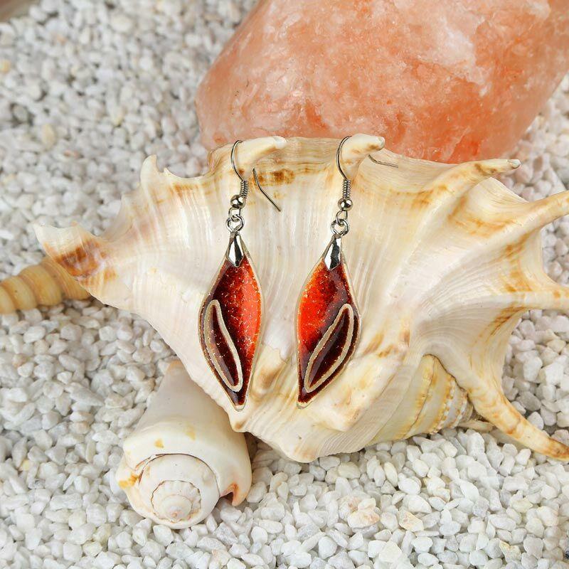 Hórusz szeme - piros-narancs üveg fülbevaló