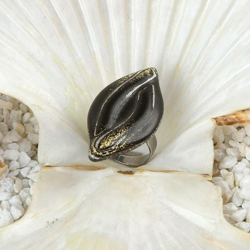 Hórusz szeme - fekete üveg gyűrű